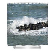 Wave On The Rocks Shower Curtain