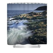 Waves Crashing Against The Shore In Acadia National Park Shower Curtain