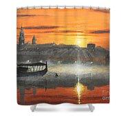 Wawel Sunrise Krakow Shower Curtain
