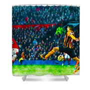 Wayne Rooney Of Manchester United Scores Their Second Goal Shower Curtain