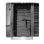 Weathered Door With Hanging Chain Shower Curtain