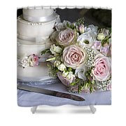 Wedding Bouquet And Cake Shower Curtain