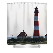 Westerhebersand Lighthouse - North Sea - Germany Shower Curtain