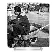Wheel Barrel Man Shower Curtain