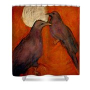 When Crow Made The Moon Shower Curtain by Johanna Elik
