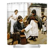 When The Boats Are Away Shower Curtain by Walter Langley