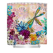 Whimsical Floral Flowers Dragonfly Art Colorful Uplifting Painting By Megan Duncanson Shower Curtain
