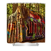 Whistler Train Derailment Box Car Shower Curtain
