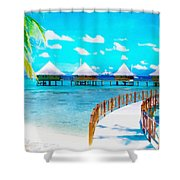 White Bay Shower Curtain
