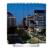 Wichita Skyline At Dusk From Waterwalk Shower Curtain
