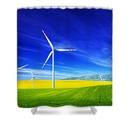 Wind Turbines On Spring Field Shower Curtain