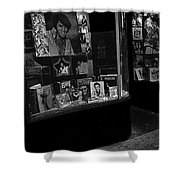 Window Display Night Of Elvis Presley's Death Recordland Portland Maine 1977 Shower Curtain
