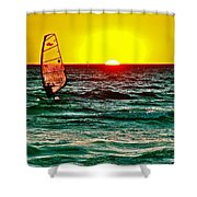 Windsurfer At Sunset On Lake Michigan From Empire-michigan  Shower Curtain