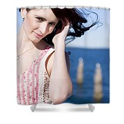 Windy Hair Woman Shower Curtain
