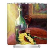 Wine And Sunflower Shower Curtain