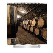 Wine Barrels In A Cellar. Cote D'or. Burgundy. France. Europe Shower Curtain