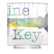 Wine Key Watercolor Shower Curtain