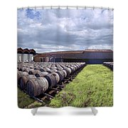 Winery Wine Barrels Outside Clouds Panorama Shower Curtain