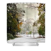 Winter In Autumn Shower Curtain