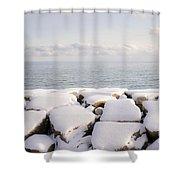 Winter Shore Of Lake Ontario Shower Curtain by Elena Elisseeva
