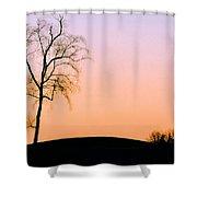 Winter Sunset Tree Shower Curtain