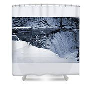 Winter Waterfall Snow Shower Curtain