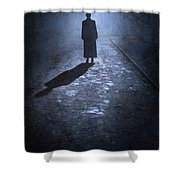 Woman Alone Outside In Fog At Night Shower Curtain
