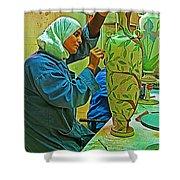 Woman Artisan At Mosaic School In Madaba In Jordan  Shower Curtain