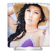 Woman At The Beach Shower Curtain