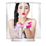 Woman Blowing Feathers Shower Curtain