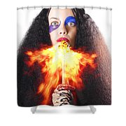 Woman Breathing Fire From Mouth Shower Curtain