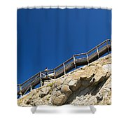 Woman Climbing Stairs Shower Curtain