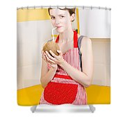 Woman Drinking Coconut Milk In Kitchen Shower Curtain