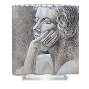 Woman Head Study Shower Curtain