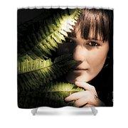 Woman Hiding Behind Fern Leaf Shower Curtain