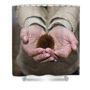 Woman Holding A Chestnut Shower Curtain
