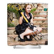 Woman Holding Pitchfork Shower Curtain