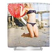 Woman In Bikini Jumping Shower Curtain