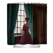Woman In Georgian Period Dress Reading A Letter By The Window Shower Curtain