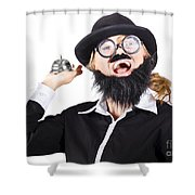 Woman In Mens Clothes With Service Bell Shower Curtain