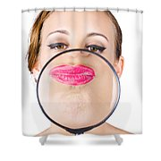 Woman Kissing Magnifying Glass Shower Curtain