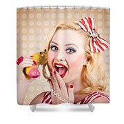 Woman On Banana Telephone. Health Eating News Shower Curtain