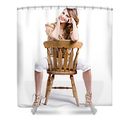 Woman Posing On Chair Shower Curtain
