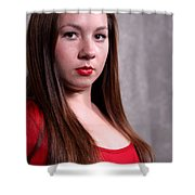 Woman Red Dress Shower Curtain