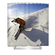Woman Skiing At Sunset, Chile Shower Curtain