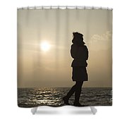 Woman Walking On The Lake Front Shower Curtain