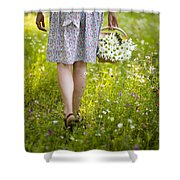 Woman Walking Through A Wild Flower Meadow With A Basket Of Flow Shower Curtain