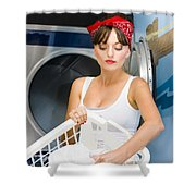 Woman Washing Clothes Shower Curtain