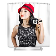 Woman With An Old Camera Shower Curtain
