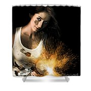 Woman With Angle Grinder Spraying Sparks Shower Curtain